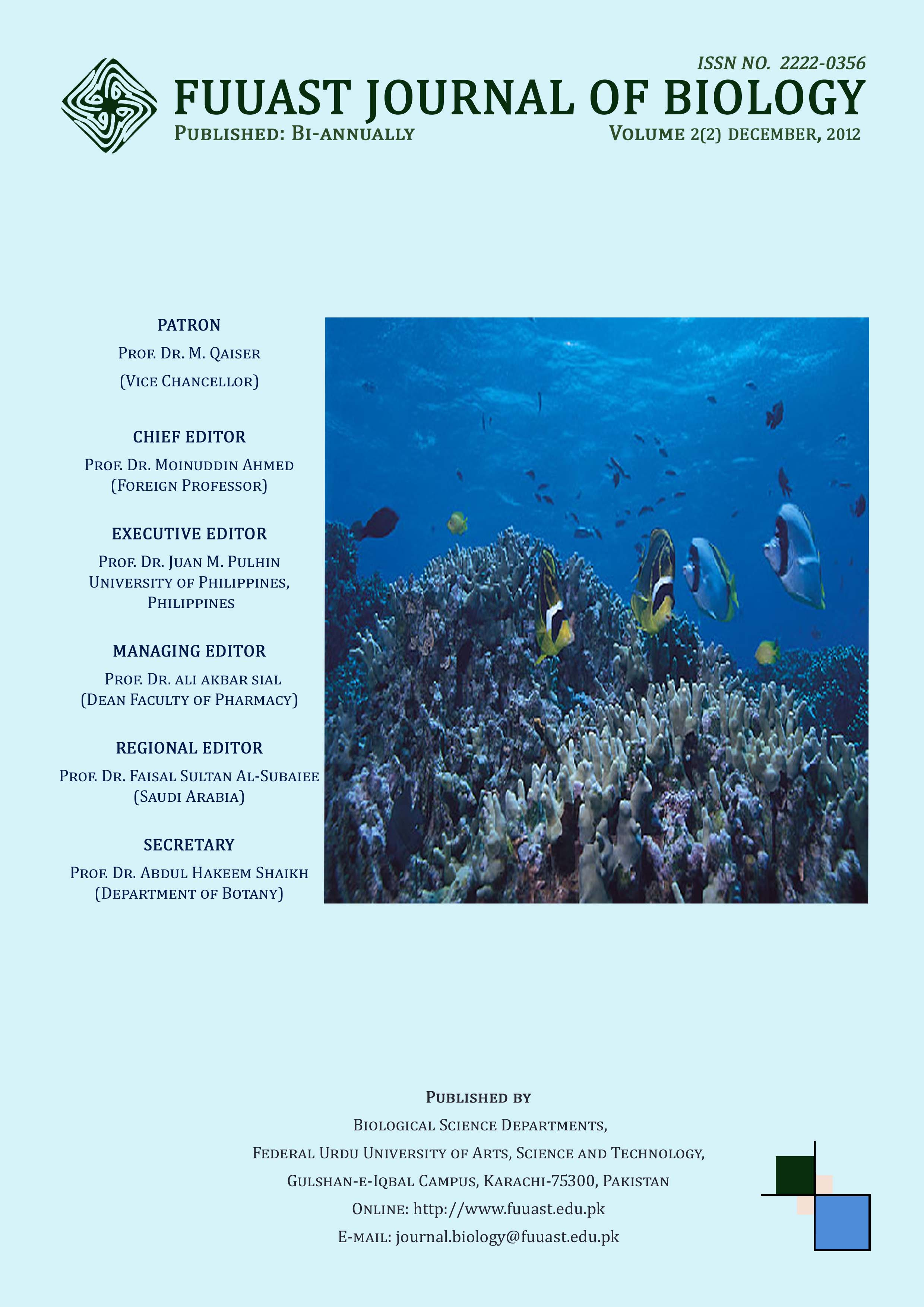 View Vol. 2 No. 2 December (2012): Fuuast Journal of Biology