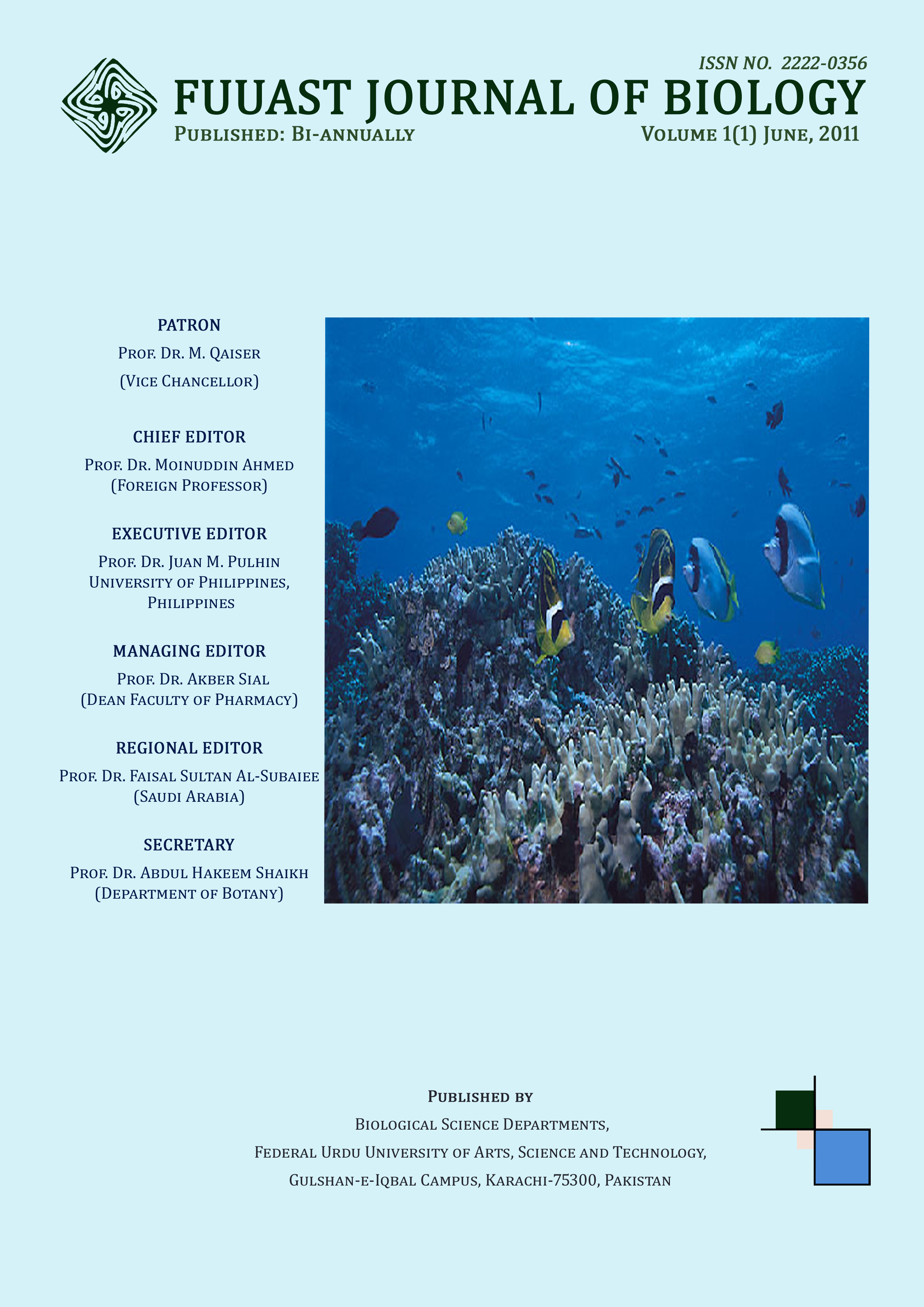 View Vol. 1 No. 1 June (2011): Fuuast Journal of Biology