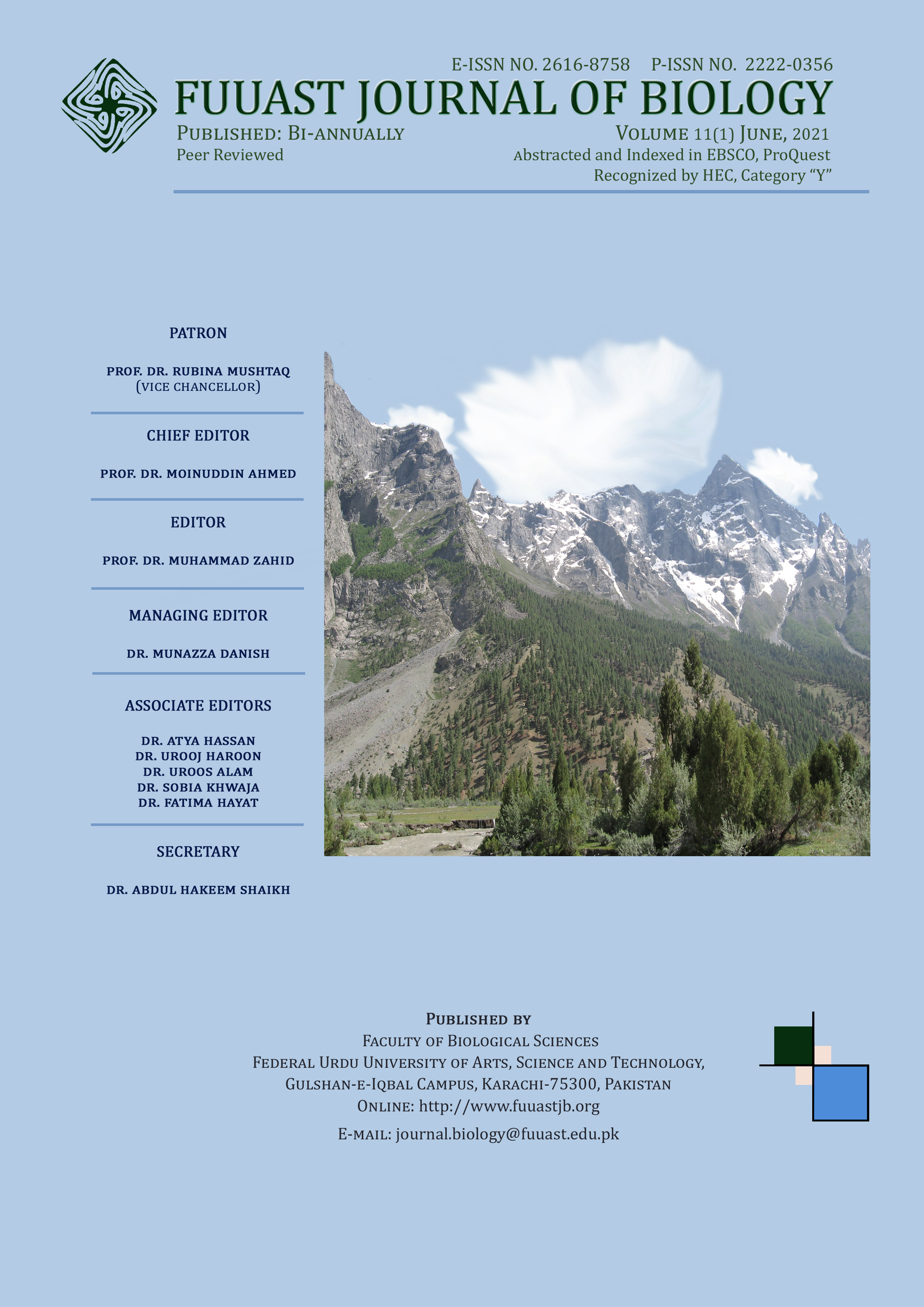 View Vol. 11 No. 1 (2021): FUUAST Journal of Biology